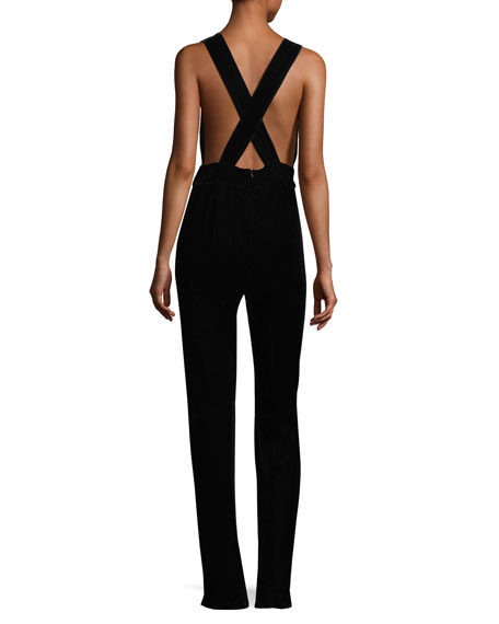 Ella Plunging Sleeveless Cross-Back Straight-Leg Crepe Pantsuit