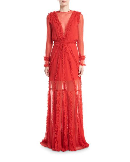 Janine High-Neck Long-Sleeve Semisheer Silk Gown