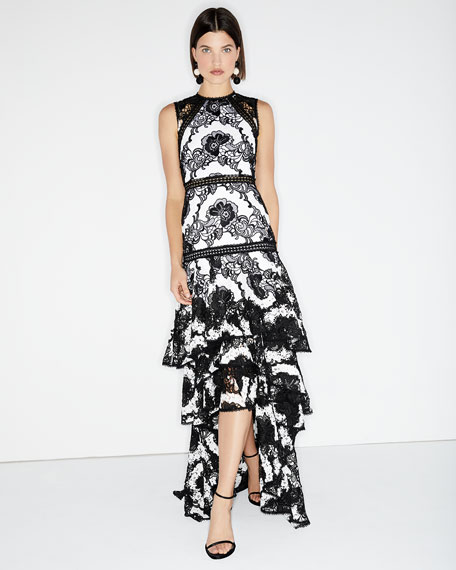 Rita High-Neck Lace-Guipure Gown w/ High-Low Hem