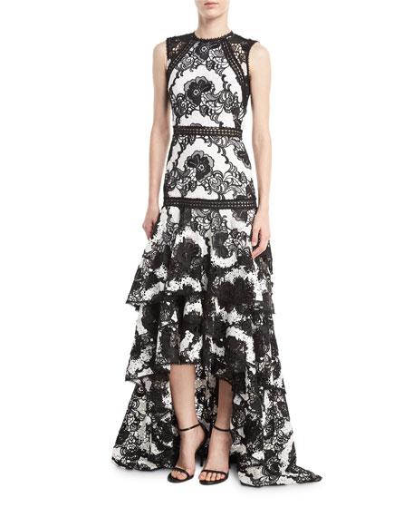 Rita High-Neck Lace-Guipure Gown w/ High-Low Hem