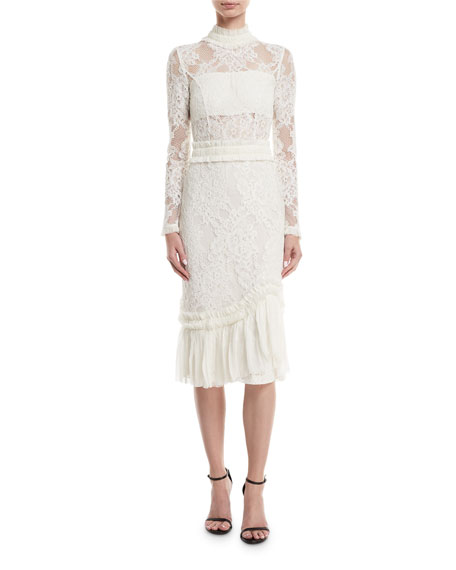 Alexis Anabella Mock-Neck Long-Sleeve Lace Sheath Dress