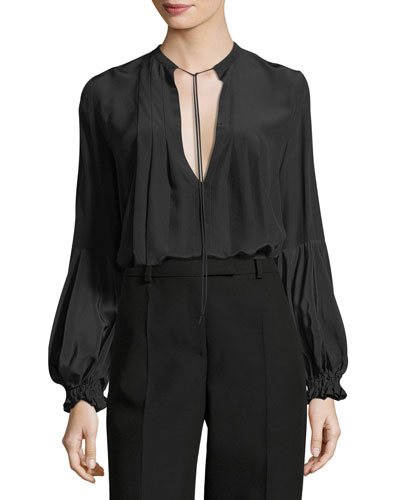 Jalen Split-Neck Long-Sleeve Silk Blouse