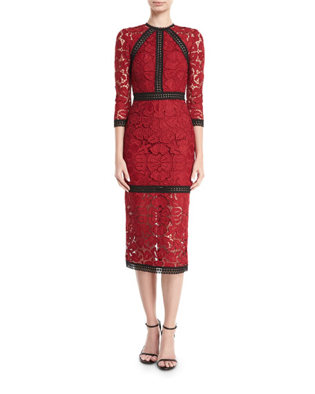 Alexis Randie High-Neck 3/4-Sleeve Lace Midi Dress