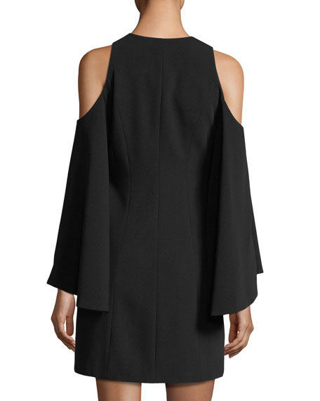 Tyra V-Neck Cold-Shoulder Crepe Dress