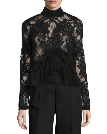 Alexis Karenza Long-Sleeve Lace Top with Ruffled Trim