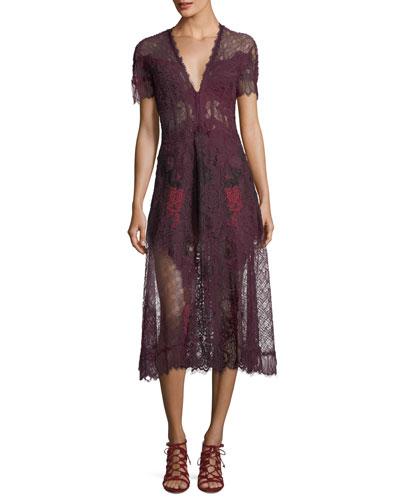 Plunging Short-Sleeve Lace Midi Dress