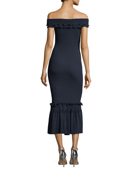Off-the-Shoulder Ribbed Midi Dress w/ Ruffled Trim