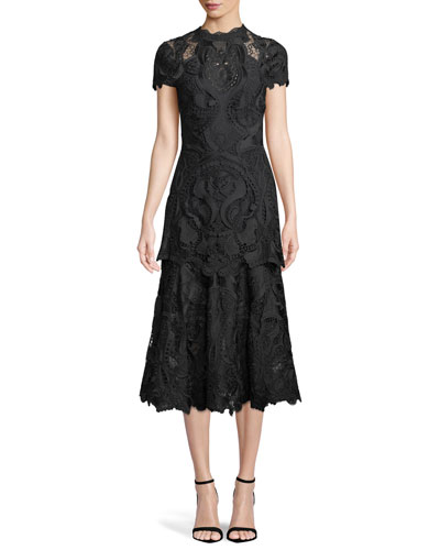 Mock-Neck Lace Guipure Cap-Sleeve Midi Dress