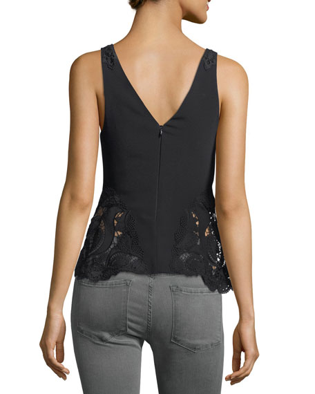 V-Neck Sleeveless Crepe Top w/ Lace
