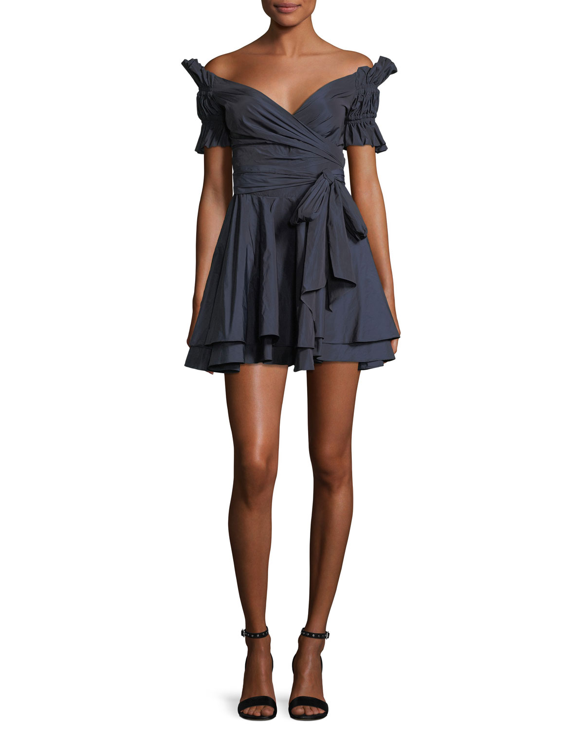 Off The Shoulder Ruched Taffeta Mini Wrap Dress