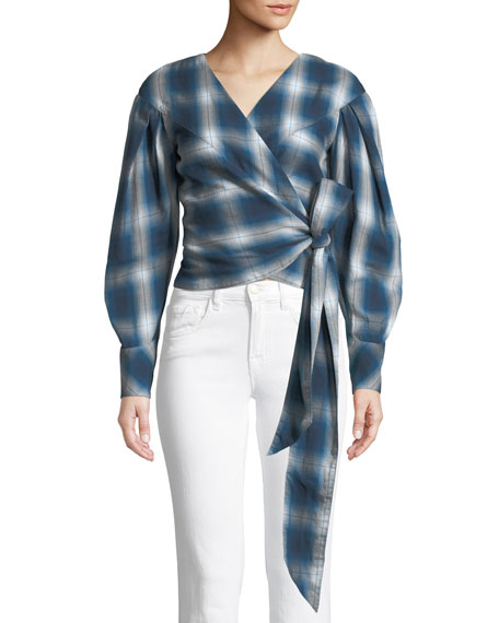 Jonathan Simkhai Washed Plaid Blouson-Sleeve Wrap Top