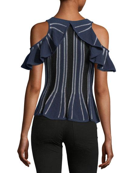 Crewneck Cold-Shoulder Knit Top w/ Ruffled Frills