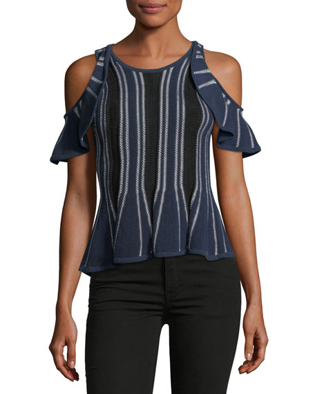Jonathan Simkhai Crewneck Cold-Shoulder Knit Top w/ Ruffled