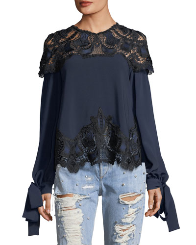 High-Neck Long-Sleeve Crepe Blouse w/ Lace Guipure