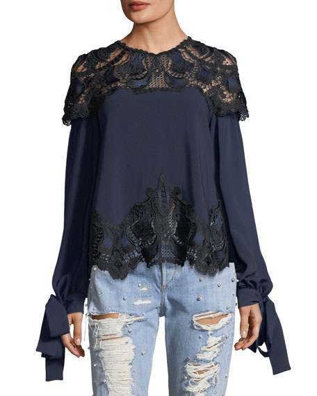 Jonathan Simkhai High-Neck Long-Sleeve Crepe Blouse w/ Lace