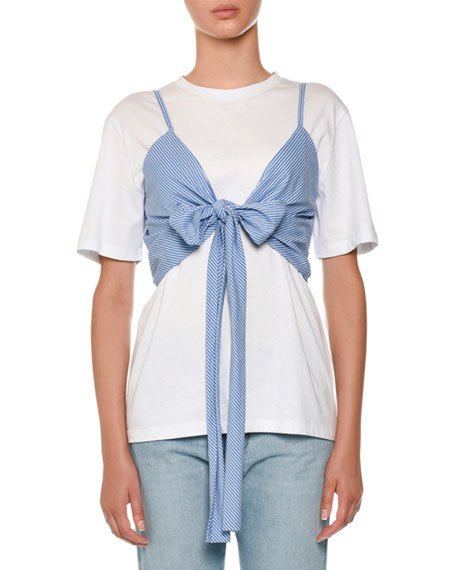 MSGM Pinstriped Tie-Front Wrap Crop Top