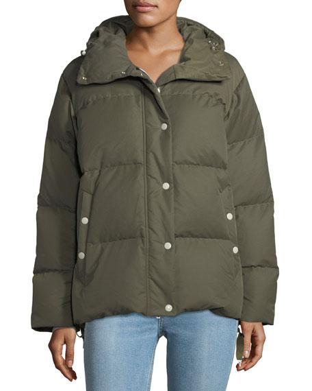 Leonard Zip-Front Hooded Padded Coat