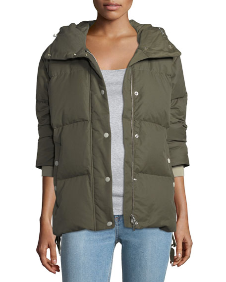 Leonard Zip-Front Hooded Padded Coat