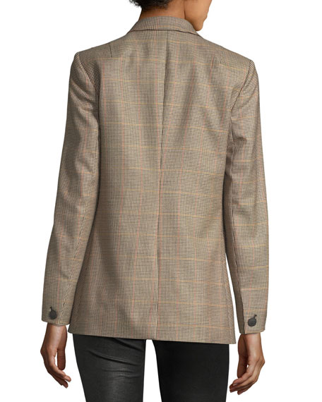 Rona Two-Button Plaid Wool Blazer