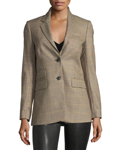 Rona Two-Button Plaid Wool Blazer