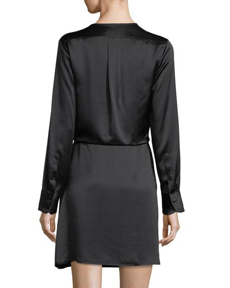 Victor V-Neck Wrap Silk Short Dress