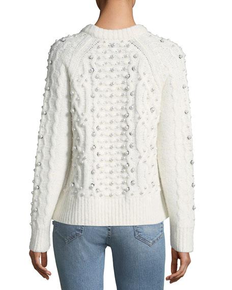 Jemima Crewneck Beaded Cable-Knit Sweater