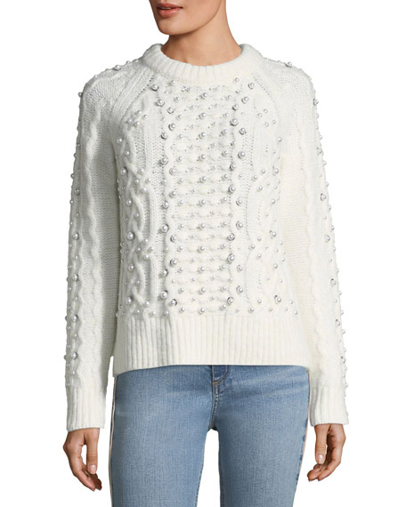 Rag & Bone Jemima Crewneck Beaded Cable-Knit Sweater