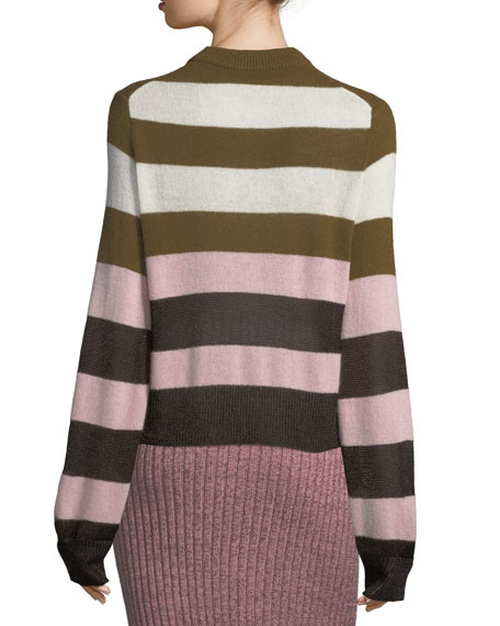 Annika Wide-Stripe Ombre Crewneck Sweater