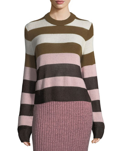 Annika Wide-Stripe Ombré Crewneck Sweater