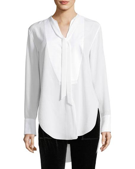 Frida Long-Sleeve Silk Tux Blouse