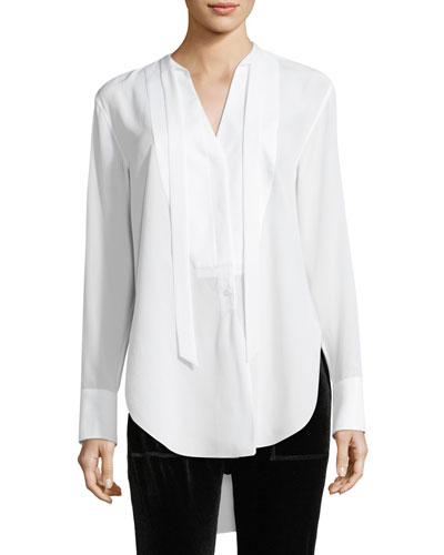 Frida Long-Sleeve Silk Tux Blouse