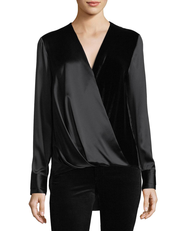 3045383dcc99d Rag   Bone Victor Surplice-Neck Long-Sleeve Silk Blouse with Velvet ...