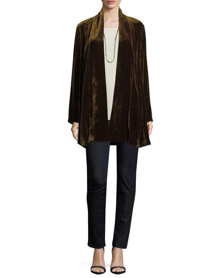 Velvet Long Shawl-Collar Jacket, Petite
