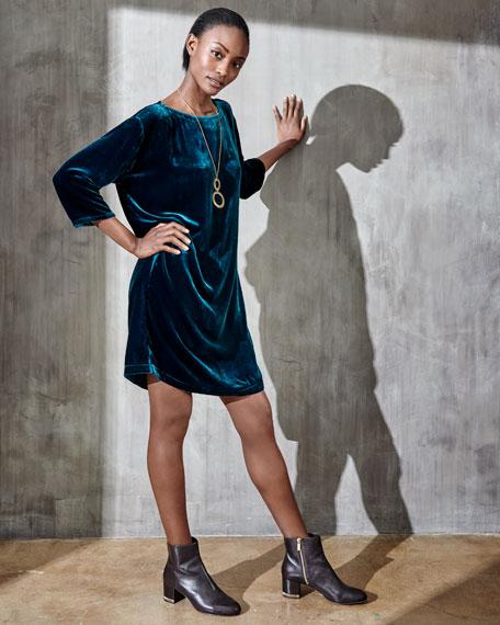 Velvet Short Shift Dress, Petite