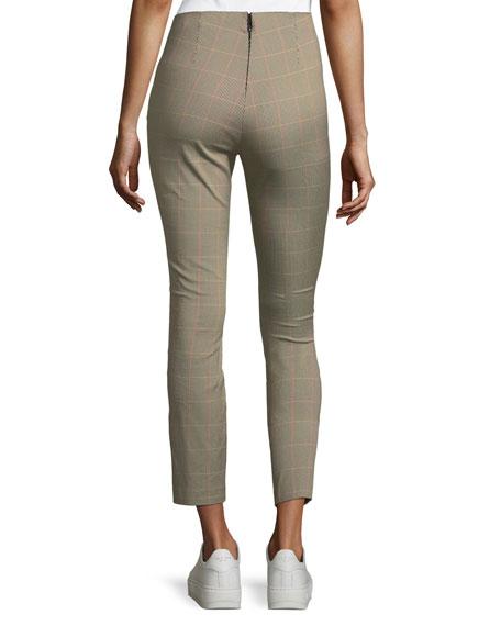 Simone Plaid Skinny-Leg Cropped Pants