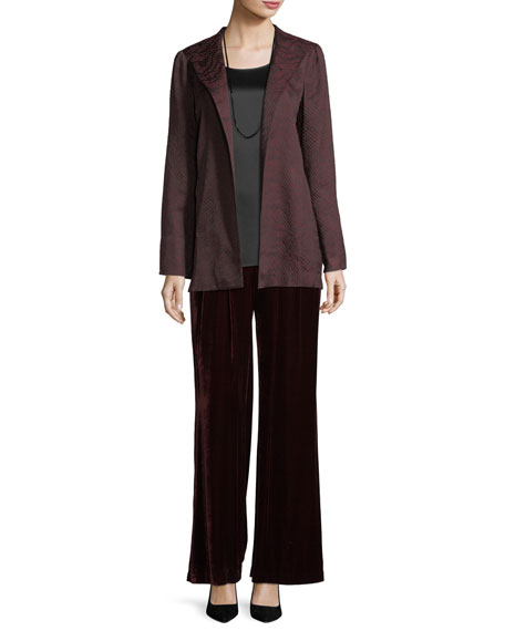 Silk-Blend Jacquard Wave Jacket, Plus Size