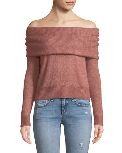 Mimi Off-the-Shoulder Cropped Mohair Sweater