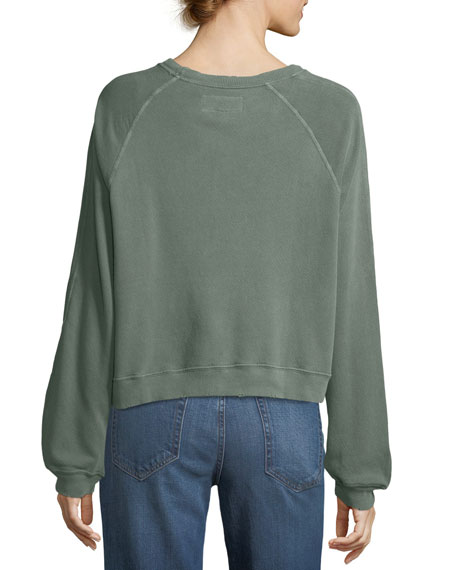 Cropped Boxy Seamed Cotton Pullover Sweatshirt