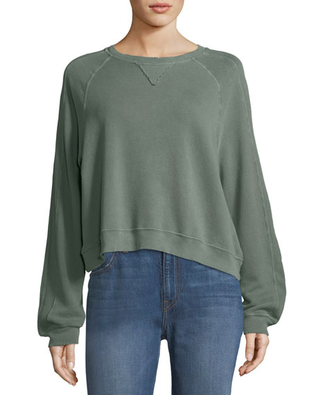 The Great Cropped Boxy Seamed Cotton Pullover Sweatshirt
