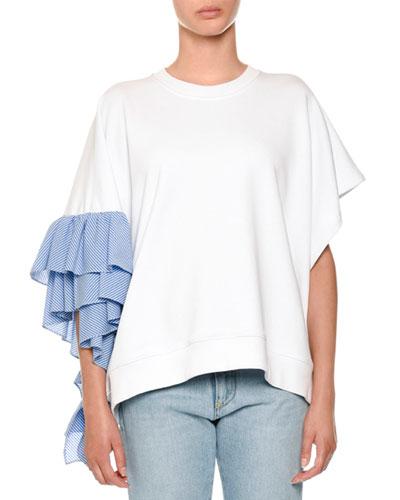 Asymmetric Ruffle-Sleeve Sweatshirt