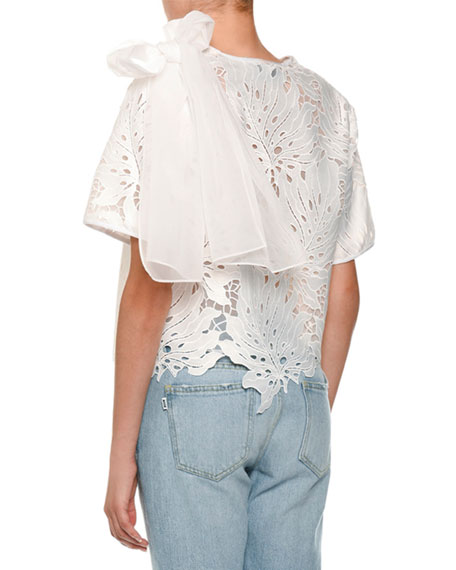 Scalloped Lace Bow-Shoulder Top