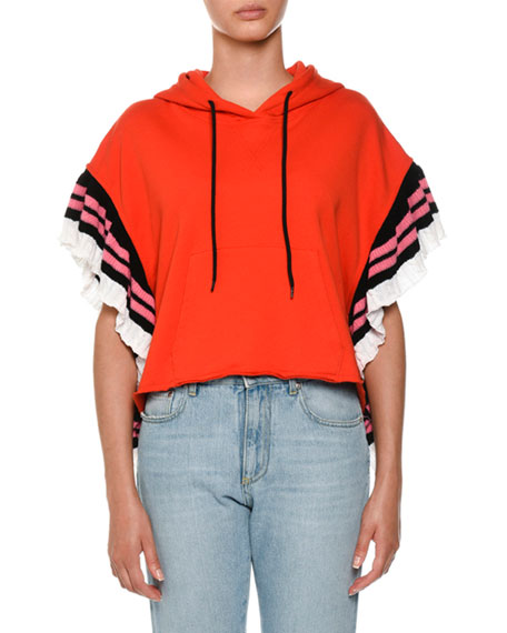 MSGM Ruffle Hooded Sweatshirt w/ Logo Strip
