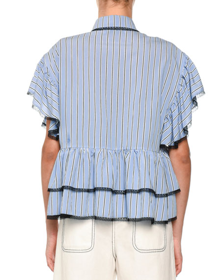 Striped Contrast Tie-Neck Blouse