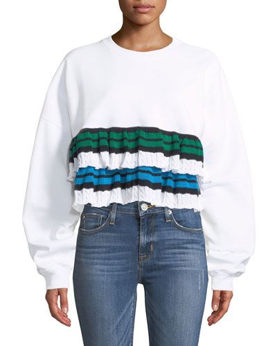 Crewneck Cropped Sweatshirt with Ruffle Detail