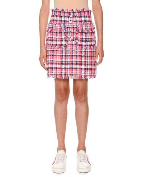 Frayed Plaid Tweed Skirt