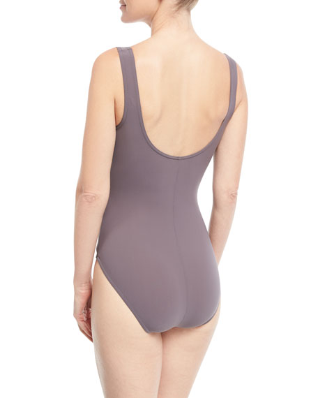 Barcelona Surplice-Neck One-Piece Swimsuit w/ Knot Details