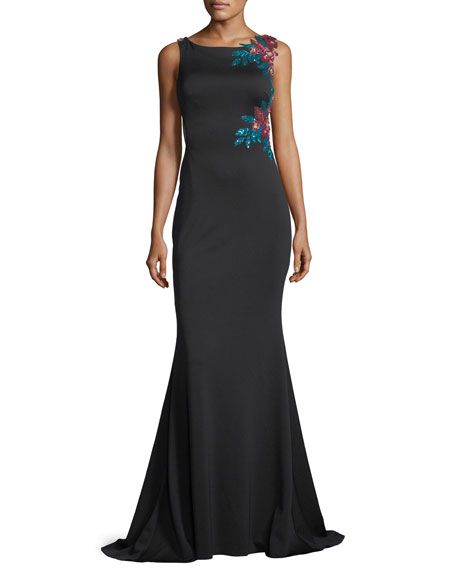 Jovani Floral-Embroidered Illusion-Back Evening Gown