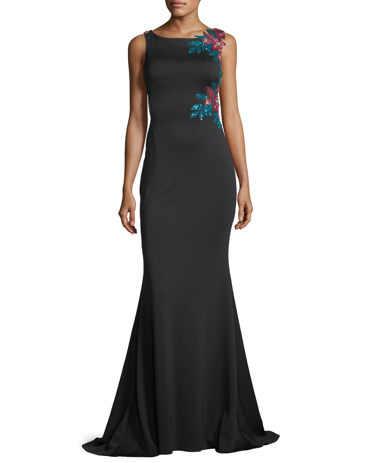 Jovani Floral Embroidered Illusion Back Evening Gown Neiman Marcus