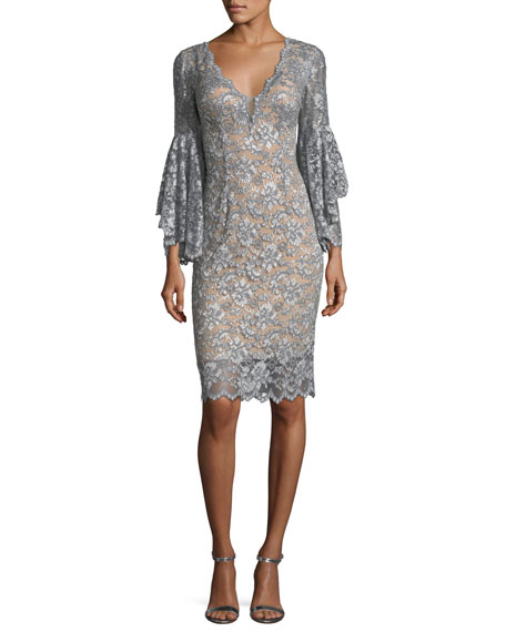 Jovani Deep V-Neck Trumpet-Sleeve Lace Appliqu?? Dress