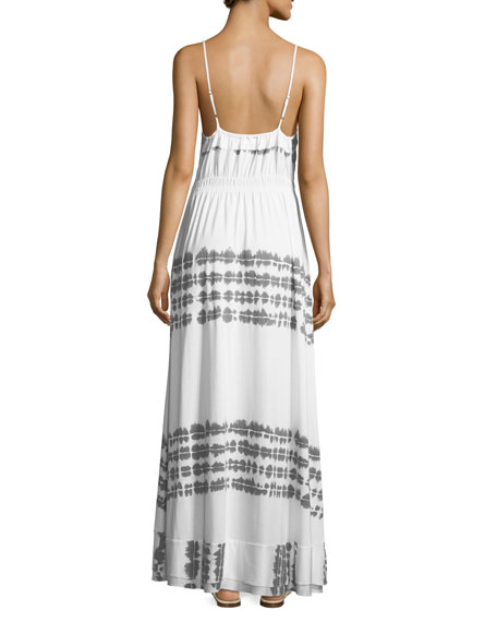 Scoop-Neck Printed Maxi Dress